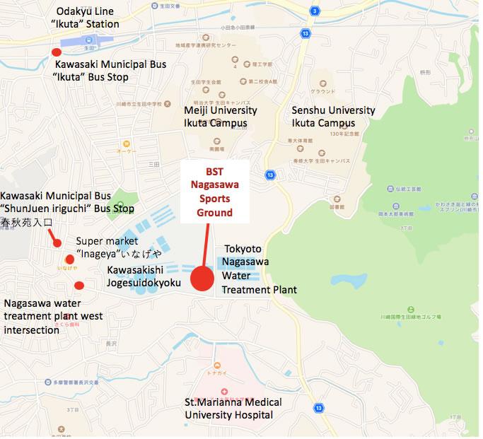 Map of area surrounding BST Nagasawa Sports Ground
